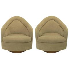 Pair of Milo Baughman Swivel Club Chairs with Walnut Bases