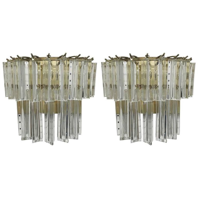 Pair of Italian Mid-Century Two-Tier Venini Murano Glass Sconces