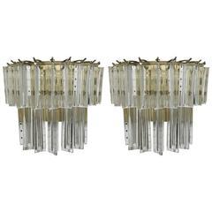 Pair of Italian Mid-Century Two-Tier Venini Murano Glass Sconces