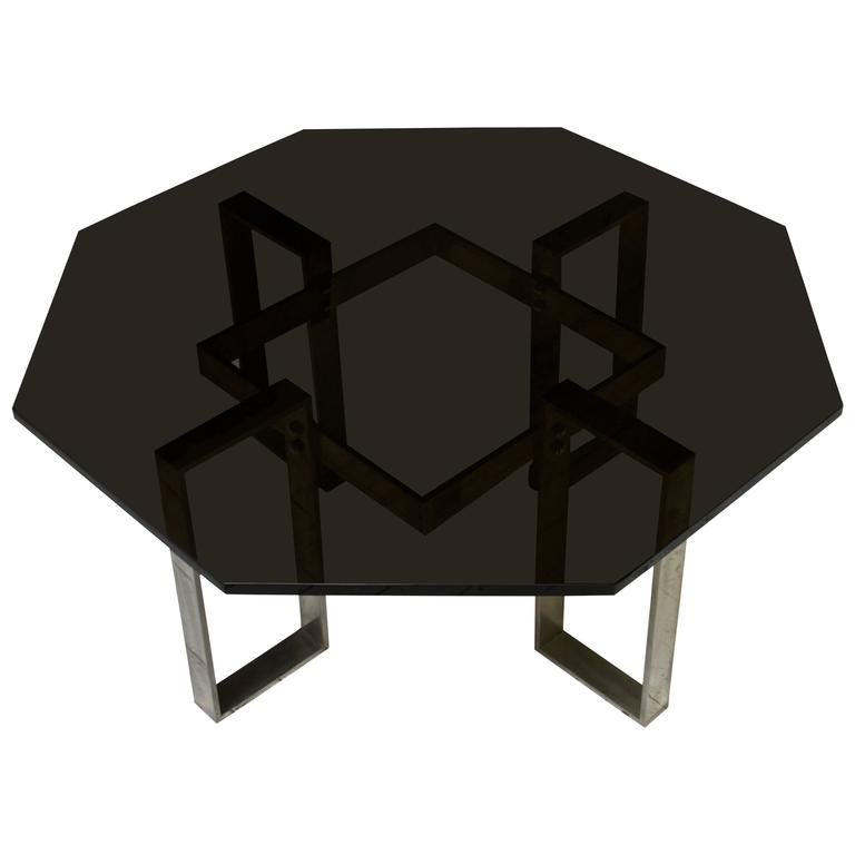 Vintage French Black Glass and Steel Octagonal Cocktail Table