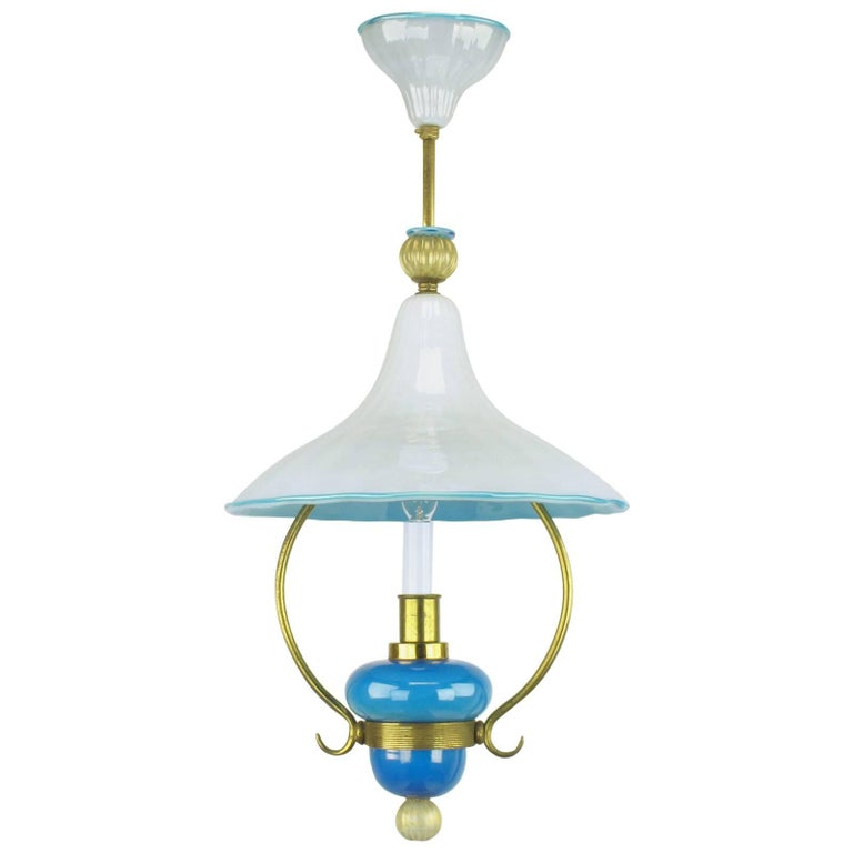 Italian Murano Blue and White Cased Glass Hooded Pendant Chandelier For Sale