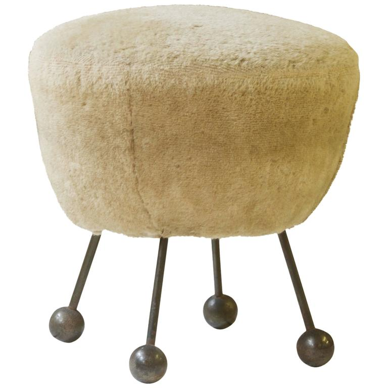 Faux Fur and Bronze Pouf Attributed to Jean Royere, 1950s