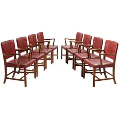Ole Wanscher Set of Eight Armchairs in Original Leather Upholstery