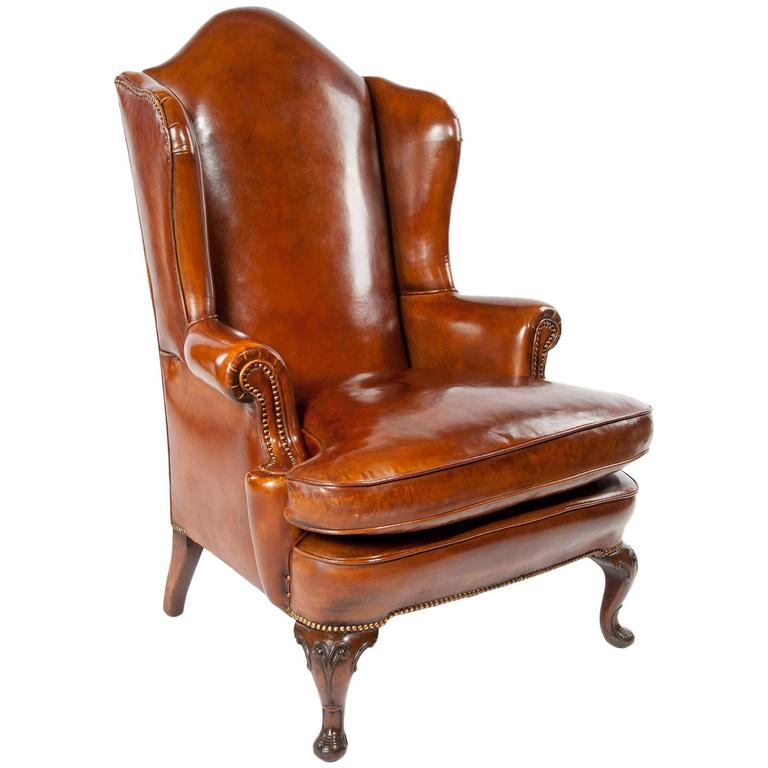 Superb antique walnut leather wingback armchair mid 19th for Antique leather chairs