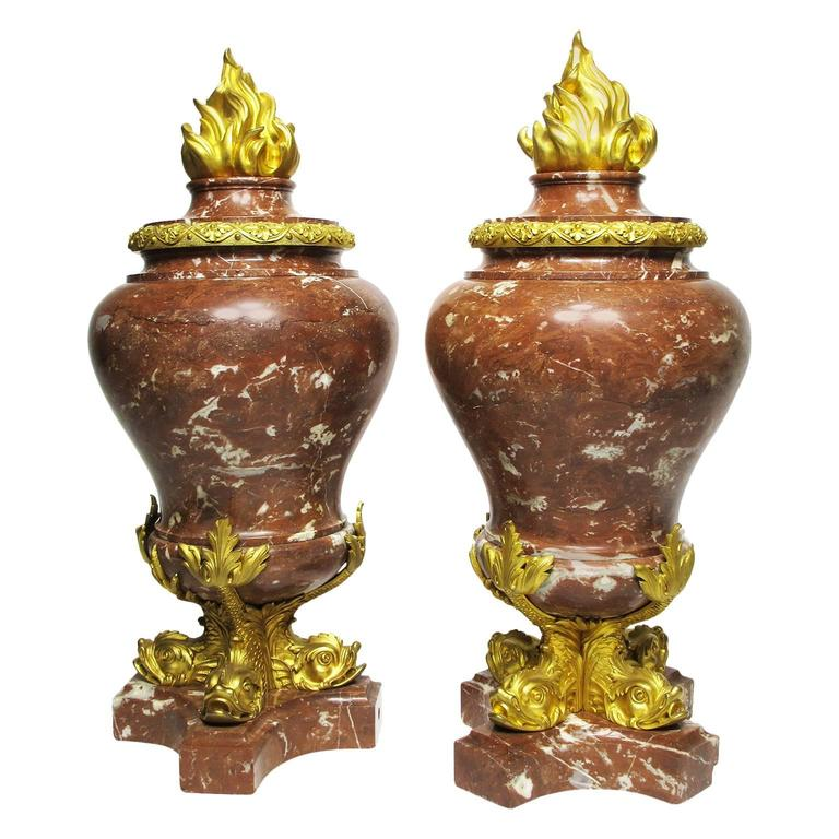 Fine Pair of French 19th Century Marble and Gilt Bronze-Mounted Flambeaux Urns