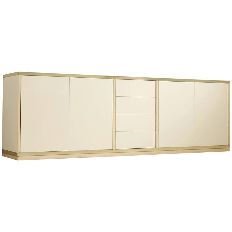High Gloss Brass Sideboard For Sale