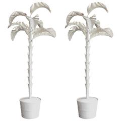Pair of Italian Gesso Tole Palm Trees