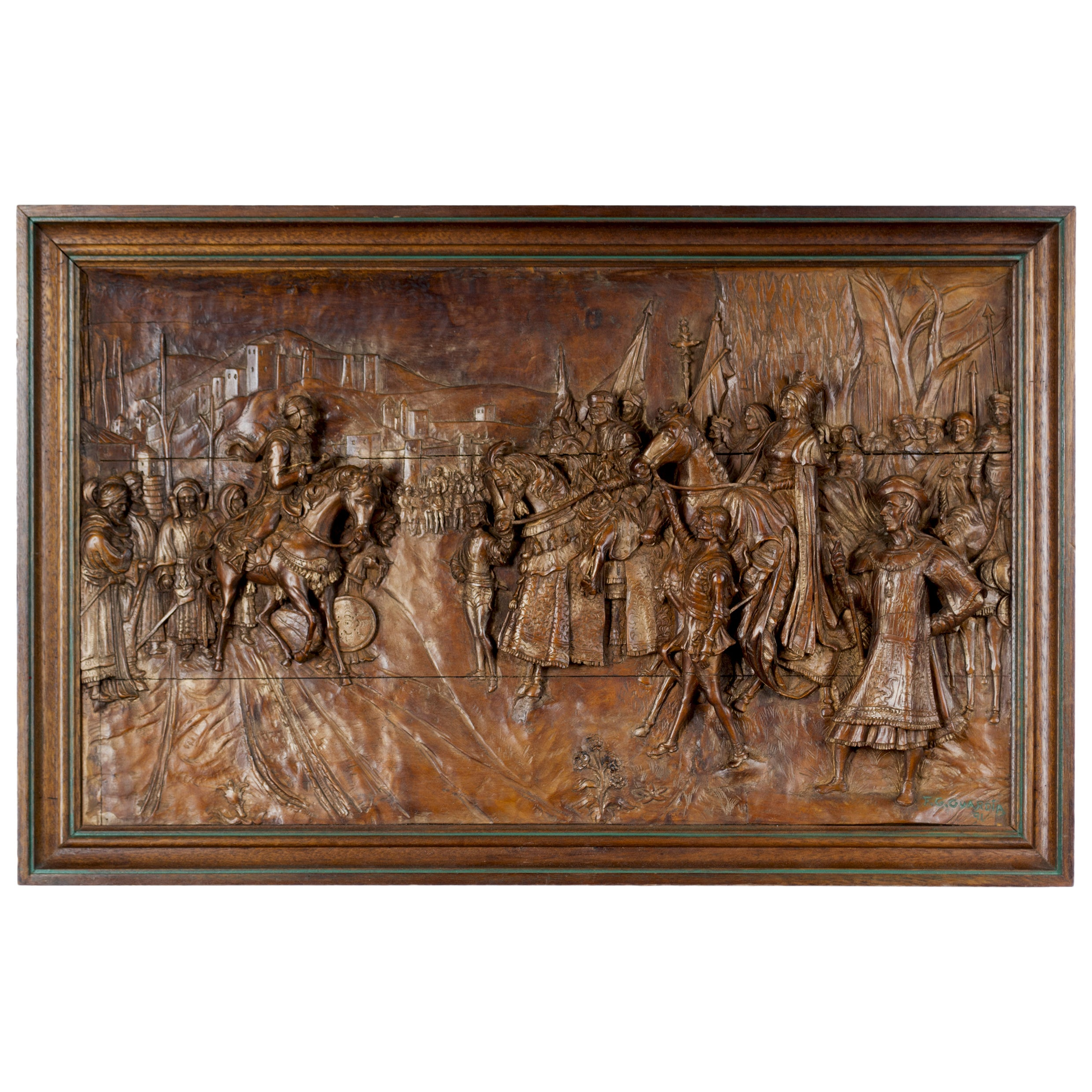 19th Century Italian Carved Wood Relief Panel of the Surrender of Ptolemais