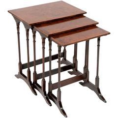 Quality Antique Nest of Burr Walnut Tables