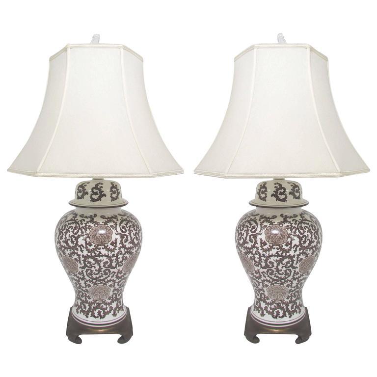 Pair of Ginger Jar Lamps with Silk Shades, circa 1960s