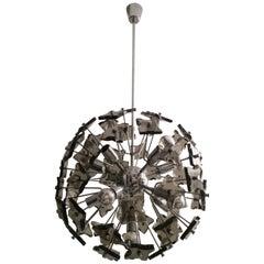 Sputnik Smoked Glass and Chrome Ceiling Lamp