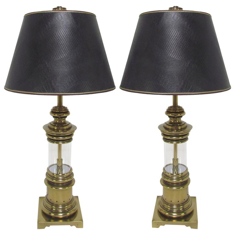 Pair of Brass Lantern Table Lamps by Stiffel, circa 1960s