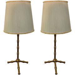 Maison Bagues, Pair of Bronze Table Lamps, circa 1950