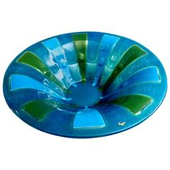 1960s Large American Mid-Century Art Glass Bowl Centerpiece by Higgins Glass