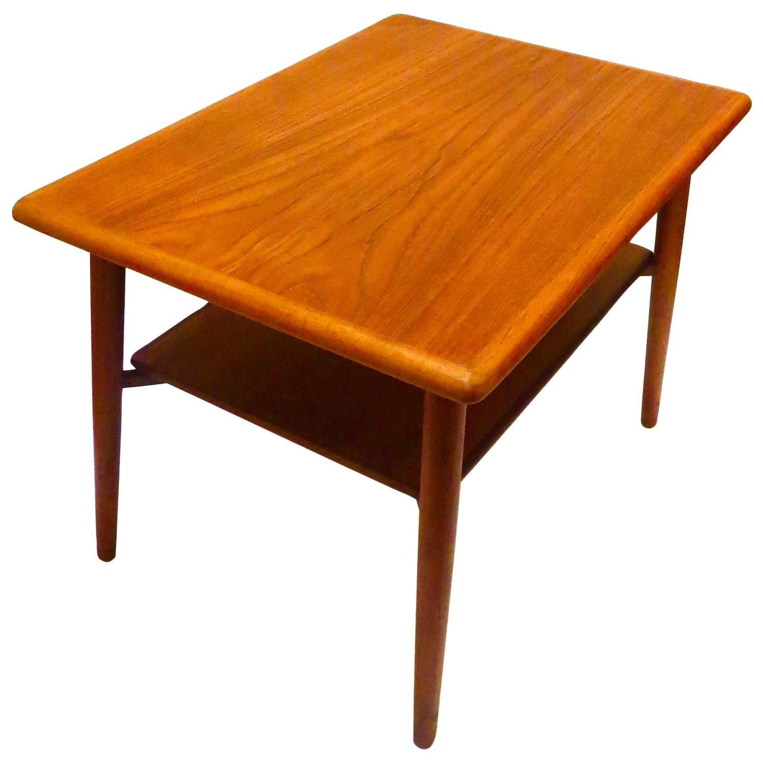 Teak Coffee Table And End Tables: 1950s Danish Modern Teak Cocktail End Table With Shelf At