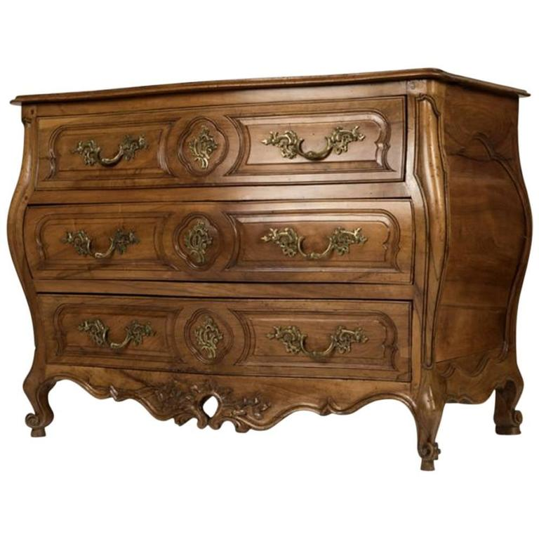 French 18th Century Style Provincial Carved Walnut Commode