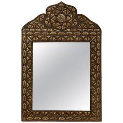 Moroccan Crested Mirror with Intricate Metal Work and Bone Inlay