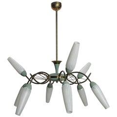 Mid-Century Nine-Light Stilnovo Style Light Fixture