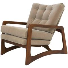 Adrian Pearsall Walnut Lounge Chair in Taupe Mohair