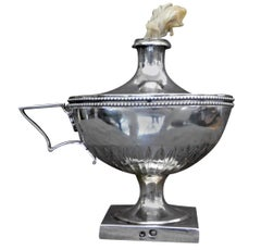 French Neoclassical Silver Oil Lamp