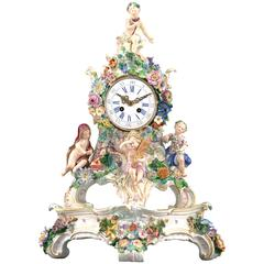 19th Century Porcelain Four Seasons Clock by Meissen