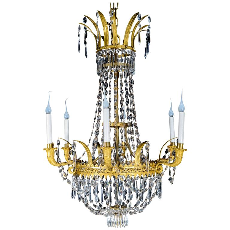 Empire Gilt Bronze and Cut Crystal Chandelier