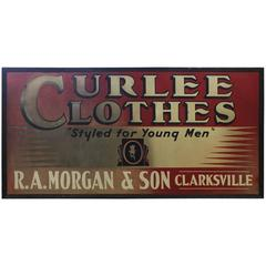 Large Early 20th Century American Advertising Tin Sign Curlee Clothes
