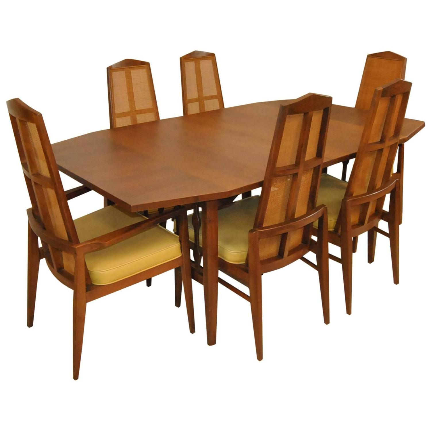 mid century modern walnut dining set by foster mcdavid for sale at