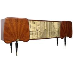 Spectacular Italian Sideboard in the manner of Gio Ponti and Piero Fornasetti
