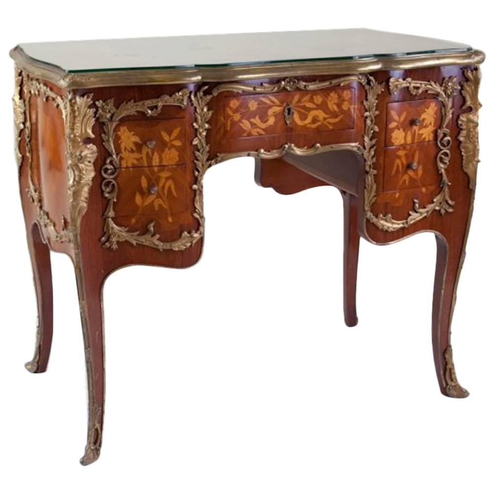 French Ormolu Mounted And Marquetry Inlaid Desk Mid 20th Century
