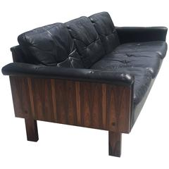 Yrjö Kukkapuro Rosewood & Black Leather Sofa for Haimi