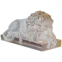 """""""Recumbent Lion"""" Mid-Century Lucite Sculpture"""