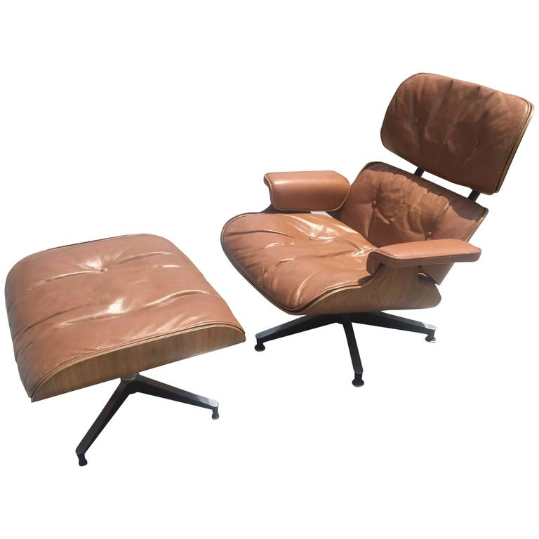 Eames Chair Leather early eames lounge and ottoman for herman miller in original