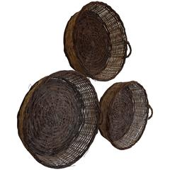 Group of Three French Woven Vine Baskets, Late 19th-Early 20th Century