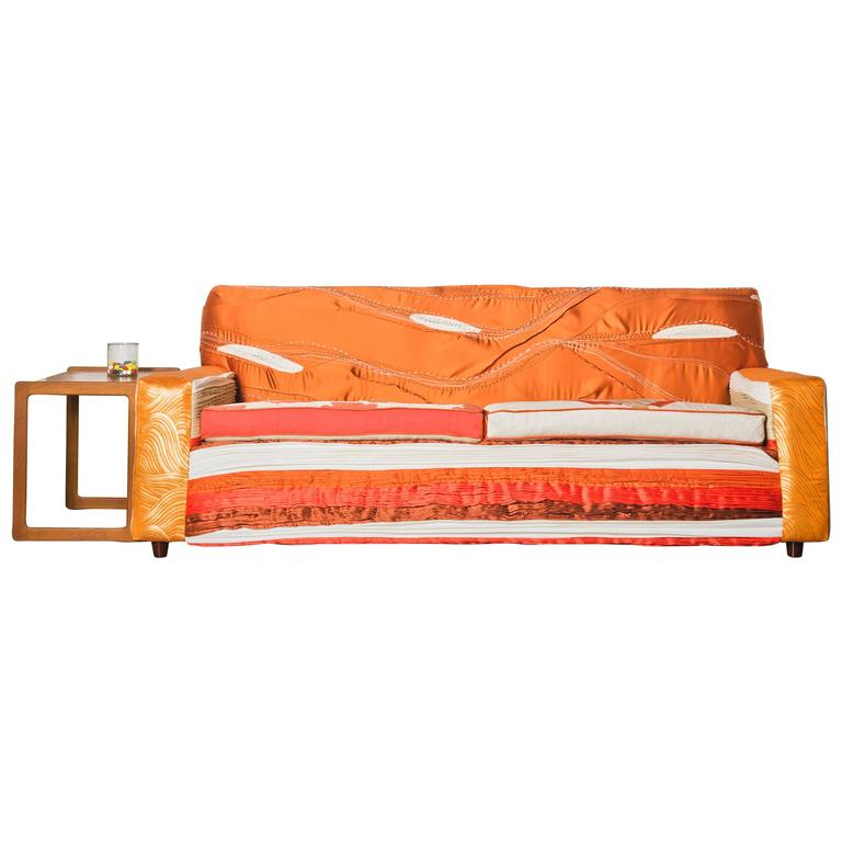 Mid Century Sofa with Handmade Textiles and Vintage Obi For Sale