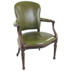 George III Leather Upholstered Armchair in the French Taste