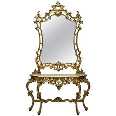 Italian Baroque Style Console with Mirror, Mid-20th Century