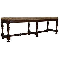 Italian Turned Walnut and Upholstered Bench, 19th Century