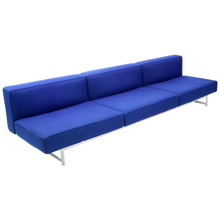 Piero Lissoni Reef Sofa For Cassina In Blue Felt At 1stdibs