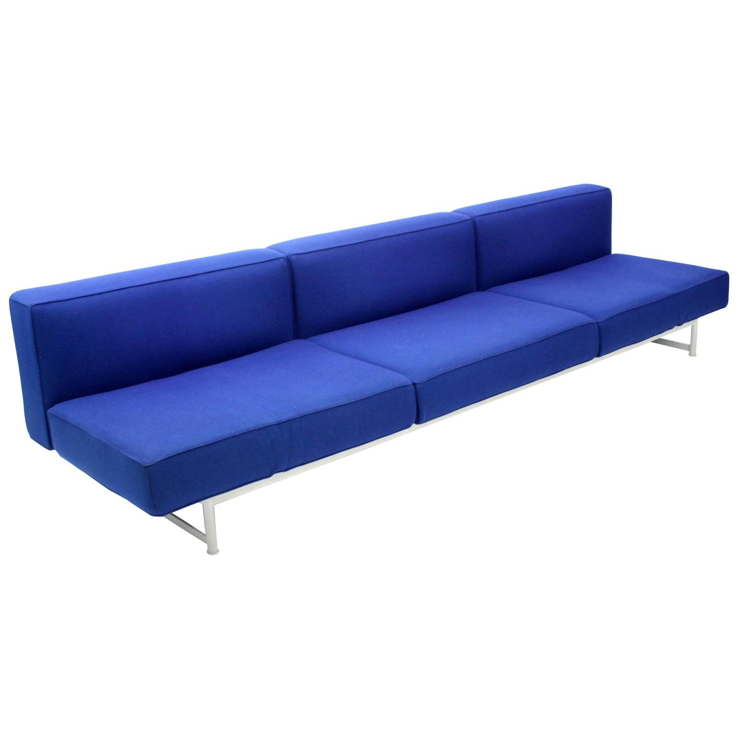 Piero lissoni reef sofa for cassina in blue felt for sale for Blue sofas for sale