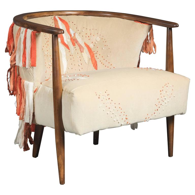Mid Century Ivory Barrel Chair with Hand Embroidery For Sale