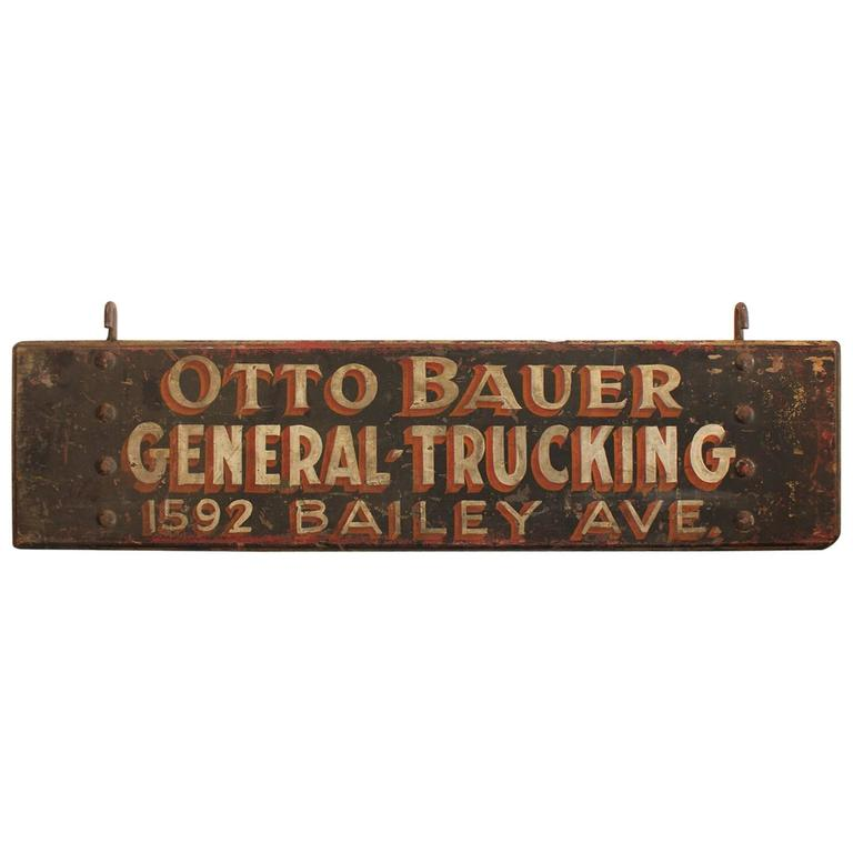 """1920s American Hand Painted Wood Sign """"General Trucking"""""""