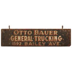 "1920s American Hand Painted Wood Sign ""General Trucking"""