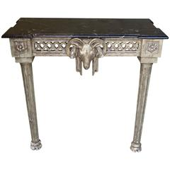 Italian Silver Gilt Rams Head Console with Marble Top