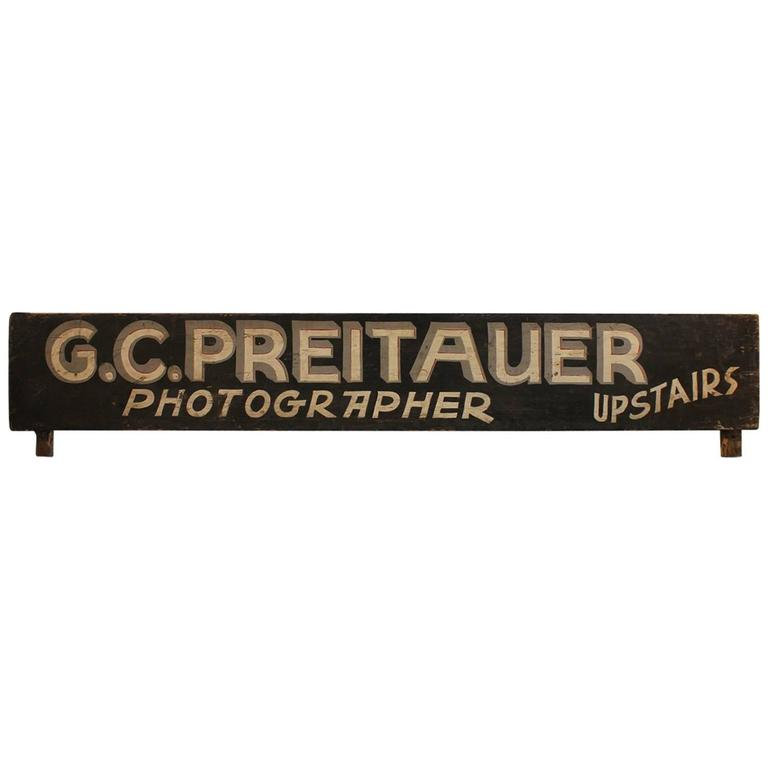"1920s Hand Painted Wood Sign ""Photographer Upstairs"""