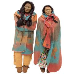 Pair of Skookum Native American Dolls, Large Store Displays