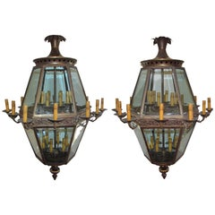 Antique Italian Monumental Pair of Louis XIV Genoa Palace Lanterns, Circa 1920