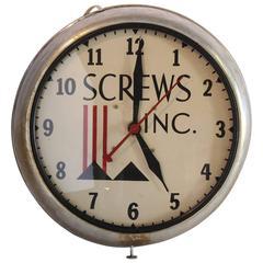 "Machine Age Advertising Wall Clock ""Screws Inc."""