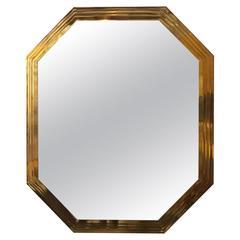 Italian Octagonal Stepped Brass Mirror