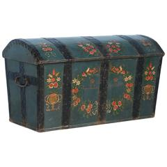 Antique Swedish Dome Top Trunk with Original Blue Green Paint, Dated 1847